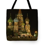 Red Square In Moscow At Night Tote Bag