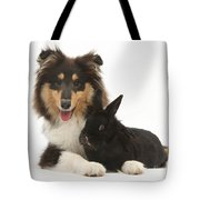 Rough Collie With Black Rabbit Tote Bag
