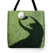 Shadow Playing Football Tote Bag