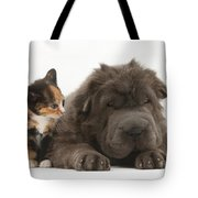 Shar Pei Puppy And Tortoiseshell Kitten Tote Bag