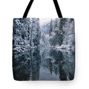 Snow-covered Trees Reflected Tote Bag