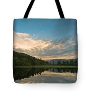 Sunrise Above A Lake On A Wind Still Morning Tote Bag