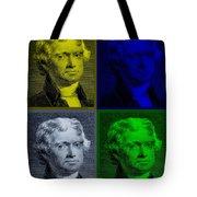 Thomas Jefferson In Quad Colors Tote Bag