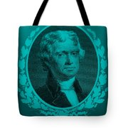 Thomas Jefferson In Turquois Tote Bag