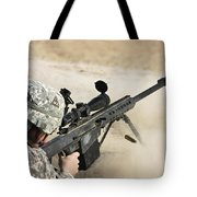 U.s. Army Soldier Fires A Barrett M82a1 Tote Bag