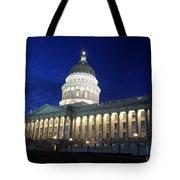 Utah Capitol Building At Twilight Tote Bag