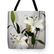 White Lily Spray Tote Bag