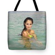 Woman At Kaneohe Sandbar Tote Bag