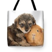 Yorkipoo Pup With Guinea Pig Tote Bag