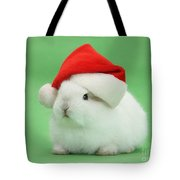 Young White Rabbit Wearing A Christmas Tote Bag