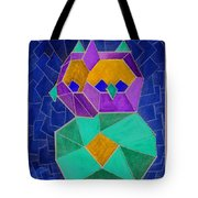 2010 Cubist Owl Negative Tote Bag by Lilibeth Andre