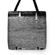 2boats2ducks In Black And White Tote Bag