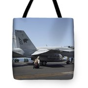 An Fa-18c Hornet During Flight Tote Bag