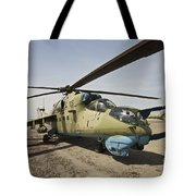 An Mi-35 Attack Helicopter At Kunduz Tote Bag