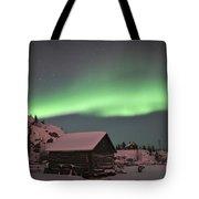 Aurora Borealis Over A Cabin, Northwest Tote Bag