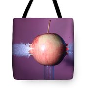 Bullet Hitting An Apple Tote Bag