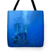 Great White Shark And Divers, Guadalupe Tote Bag