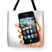 Hand Holding An Iphone Tote Bag