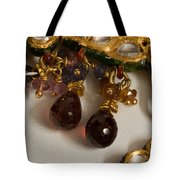 3 Hanging Semi-precious Stones Attached To A Green And Gold Necklace Tote Bag