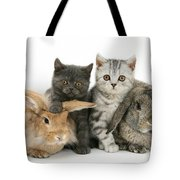 Kittens And Rabbits Tote Bag