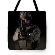 Portrait Of A U.s. Marine Wearing Night Tote Bag