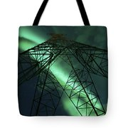 Powerlines And Aurora Borealis Tote Bag