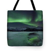 Reflected Aurora Over A Frozen Laksa Tote Bag