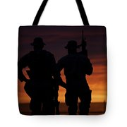 Silhouette Of U.s Marines On A Bunker Tote Bag