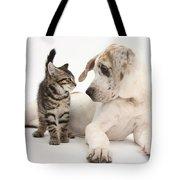 Tabby Kitten & Great Dane Pup Tote Bag