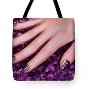 Woman Hand With Purple Nail Polish Tote Bag