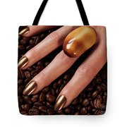 Woman Hands In Coffee Beans Tote Bag