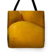 3 Yellow And Luscious Mangos On A White Sheet Tote Bag