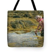 Young Girl Exploring A Maine Tidepool Tote Bag