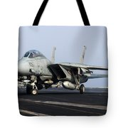 An F-14d Tomcat On The Flight Deck Tote Bag