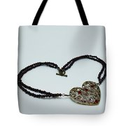 3597 Vintage Heart Brooch Pendant Necklace Tote Bag