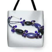 3598 Purple Cracked Agate Necklace Tote Bag