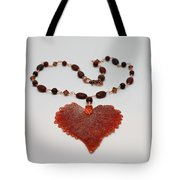 3610 Iridescent Copper Plated Cottonwood Leaf Pendant Necklace Tote Bag