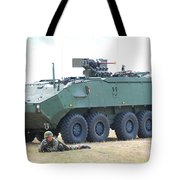 A Belgian Army Piranha IIic With The Fn Tote Bag by Luc De Jaeger
