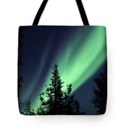 Aurora Borealis Above The Trees Tote Bag