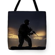 Partially Silhouetted U.s. Marine Tote Bag
