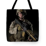 Portrait Of A U.s. Marine Wearing Night Tote Bag