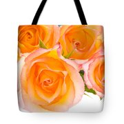 4 Roses Over White Tote Bag