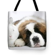 Saint Bernard Puppy With Rabbit Tote Bag