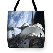 Space Shuttle Discovery Backdropped Tote Bag