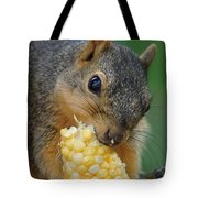 Squirrel Eating Sweet Corn Tote Bag