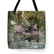 Teal Ducks Tote Bag