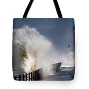 Waves Crashing By Lighthouse At Tote Bag by John Short