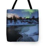 Aurora Borealis Over Tennevik River Tote Bag