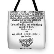 Hans Von Grimmelshausen Tote Bag