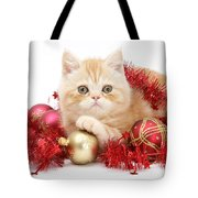 Kitten With Tinsel Tote Bag